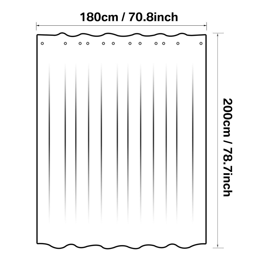 3D-Tenda-Da-Doccia-Bagno-Con-12-Ganci-Chiaro-Impermeabile-180cmx180cm-180x200cm miniatura 16