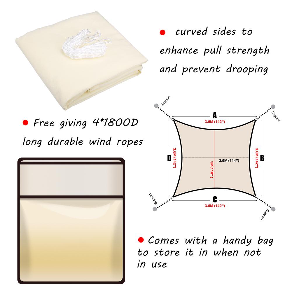 miniatura 24 - Tenda a Vela Telo sole Parasole Tenda Quadrato Ombreggiante Giardino Parasole