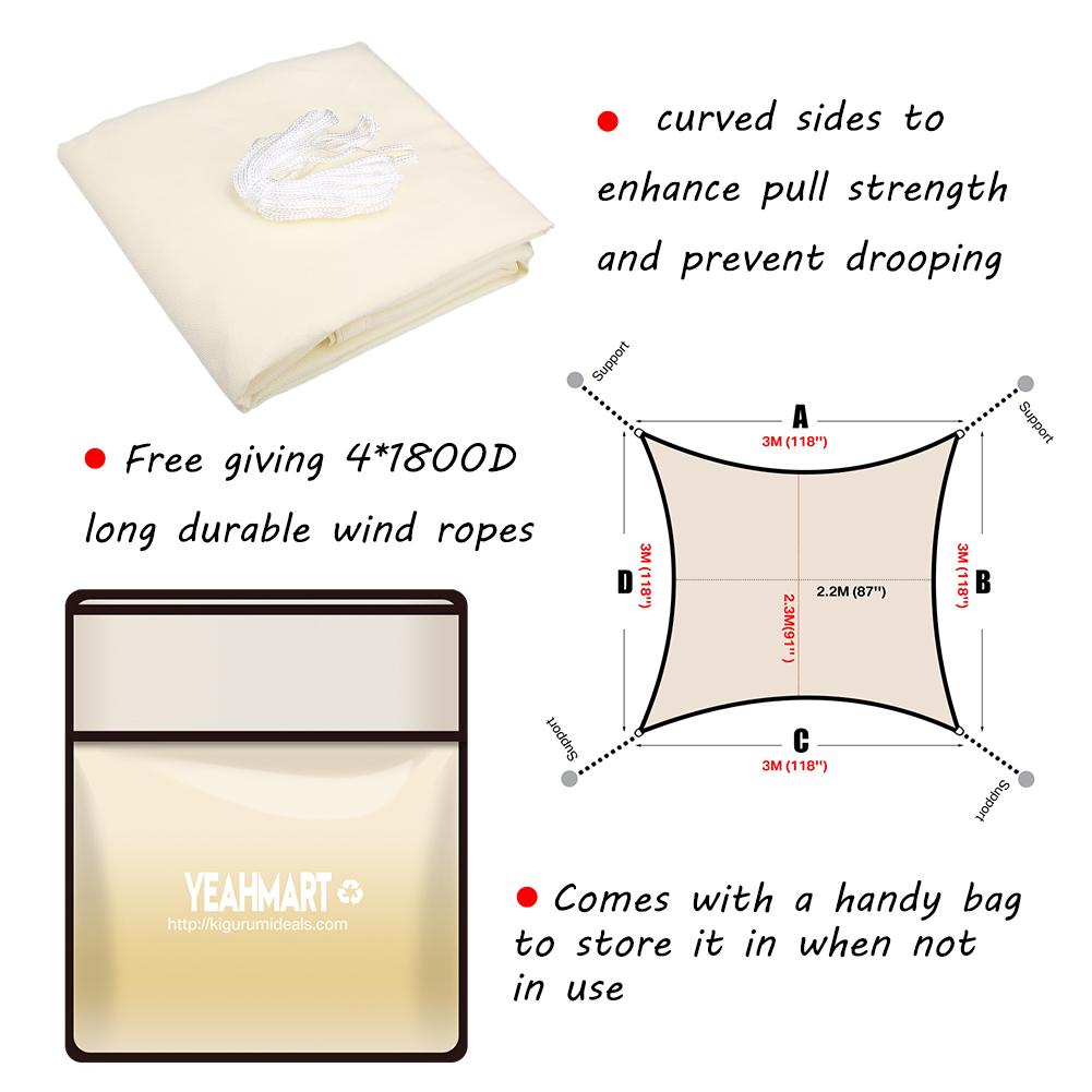 miniatura 25 - Tenda a Vela Telo sole Parasole Tenda Quadrato Ombreggiante Giardino Parasole