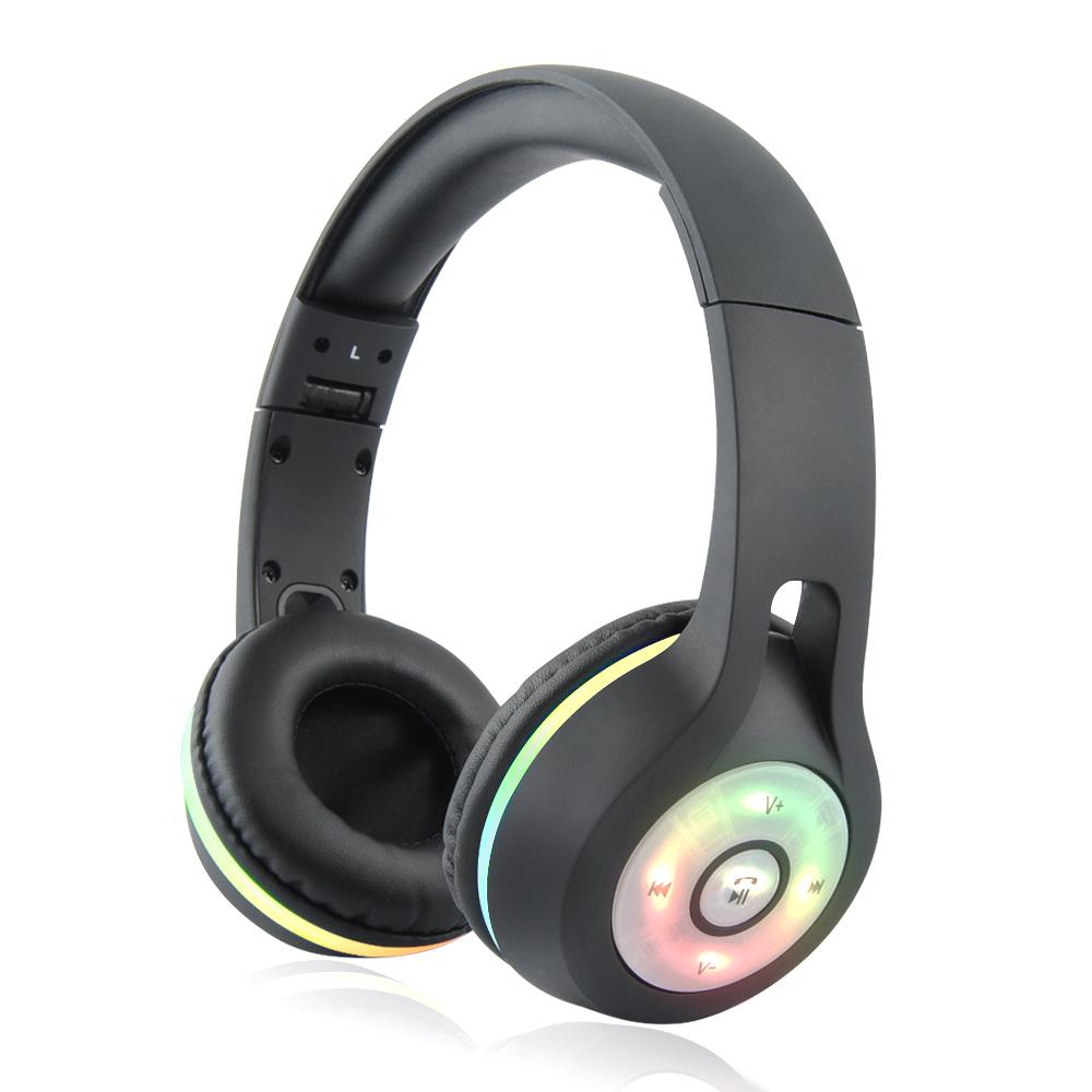 Schwarz Bluetooth Headphoe Funkkopfhörer Kabellos Kopfhörer Headset Glühender DE
