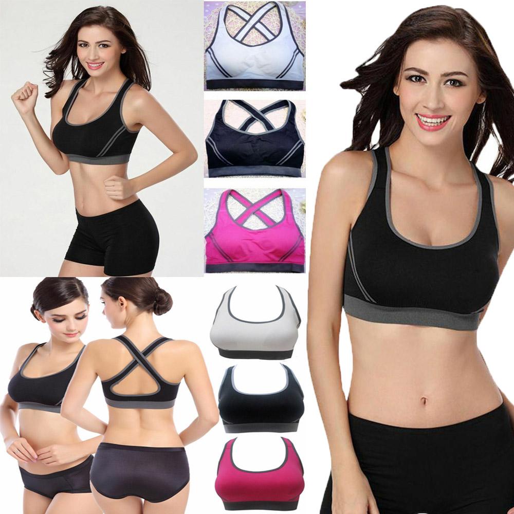 Womens Yoga Sports Running Bra Crop Top Vest Stretch Bras Shapewear Padded Hot