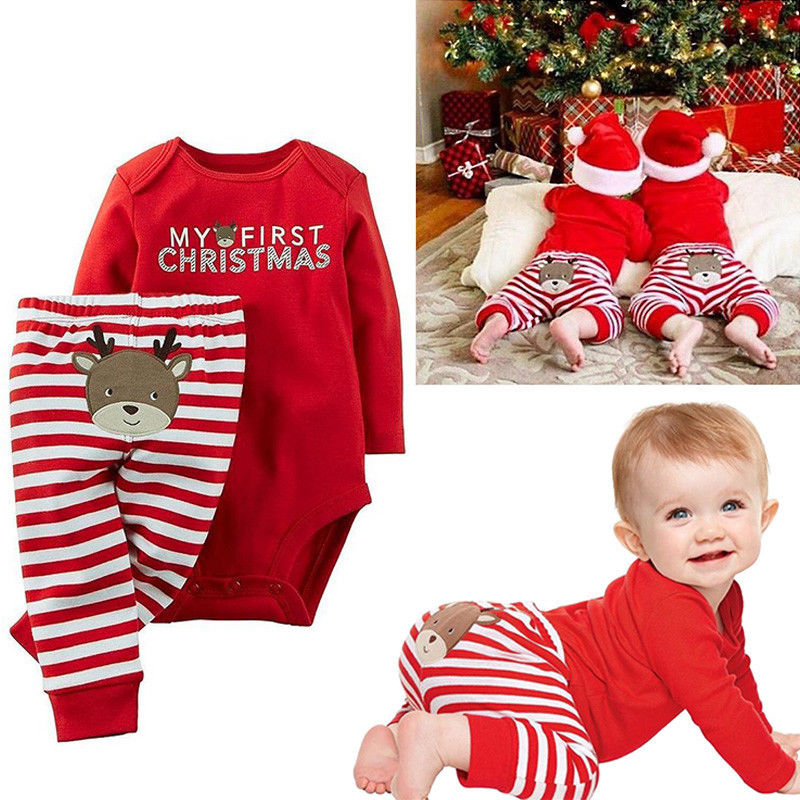 Baby Boy Girl My First Christmas Outfit Suit Romper Pants Set Santa Xmas Clothes