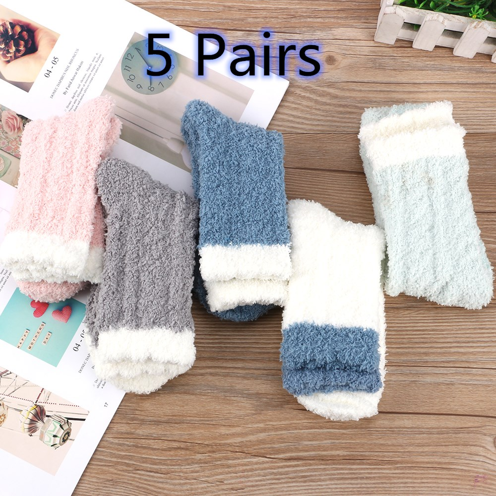 Winter 5Pairs Ladies Heart Warm Bed Cosy Lounge Soft Floor Fluffy Socks UK FAST