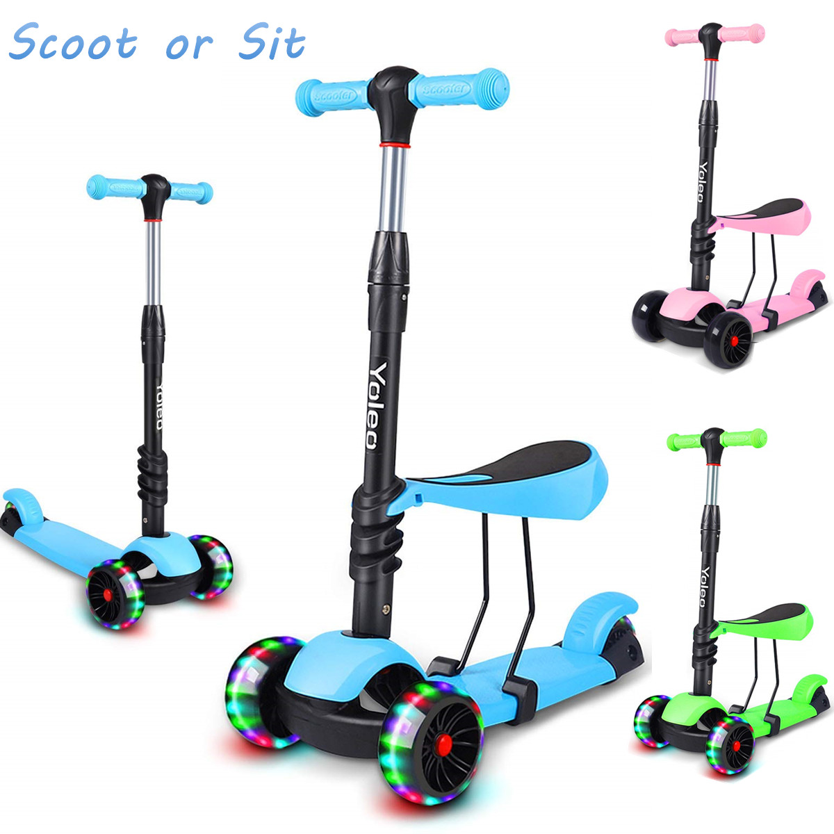 3 in 1 led kinderroller scooter 3 r der cityroller. Black Bedroom Furniture Sets. Home Design Ideas