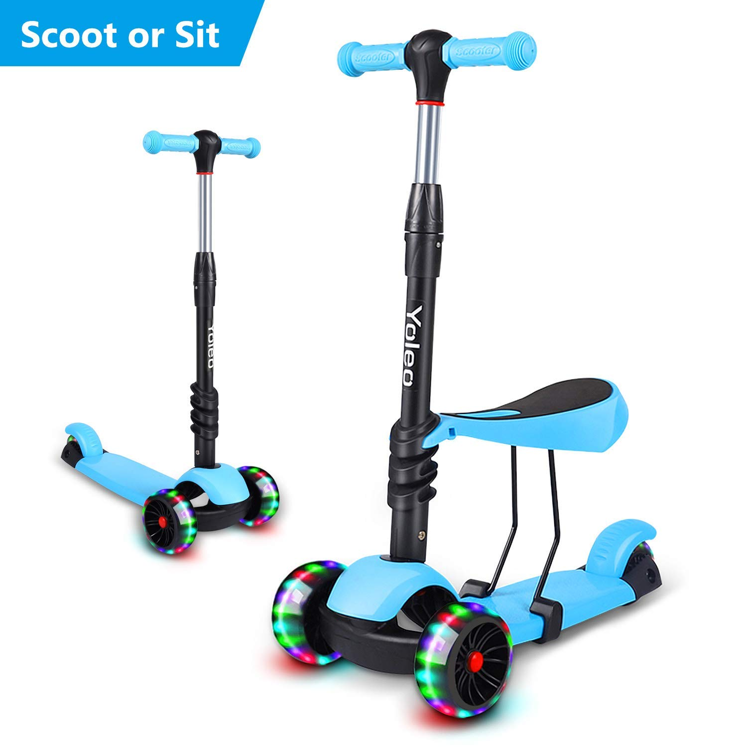 3 in 1 led kinderroller scooter 3 r der cityroller verstellbare h he mit sitz ebay. Black Bedroom Furniture Sets. Home Design Ideas