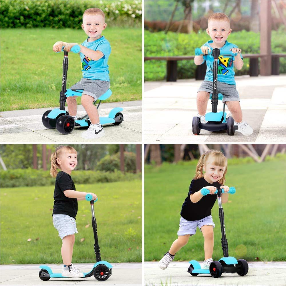 3 in 1 led kinderroller scooter 3 r der cityroller. Black Bedroom Furniture Sets. Home Design Ideas