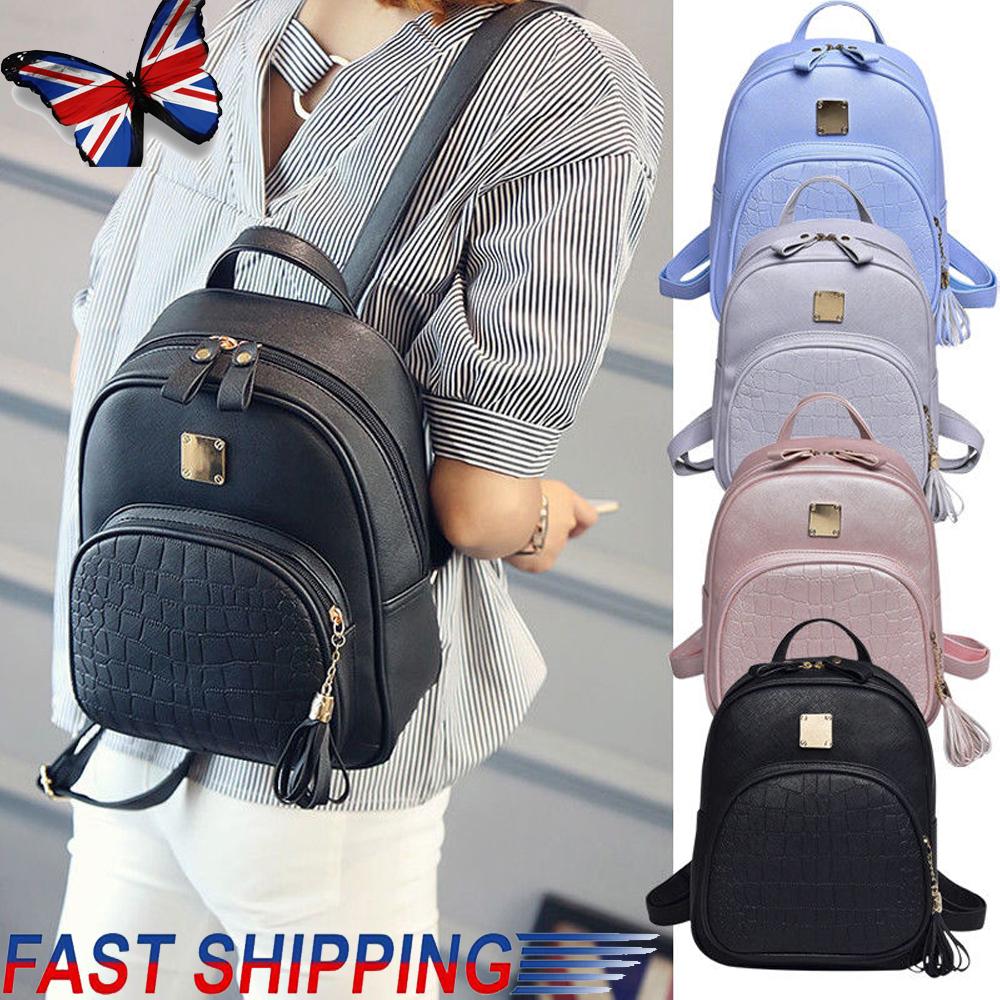 Women Travel PU Leather Backpack Rucksack Purse Shoulder School Fashion Bag Gift