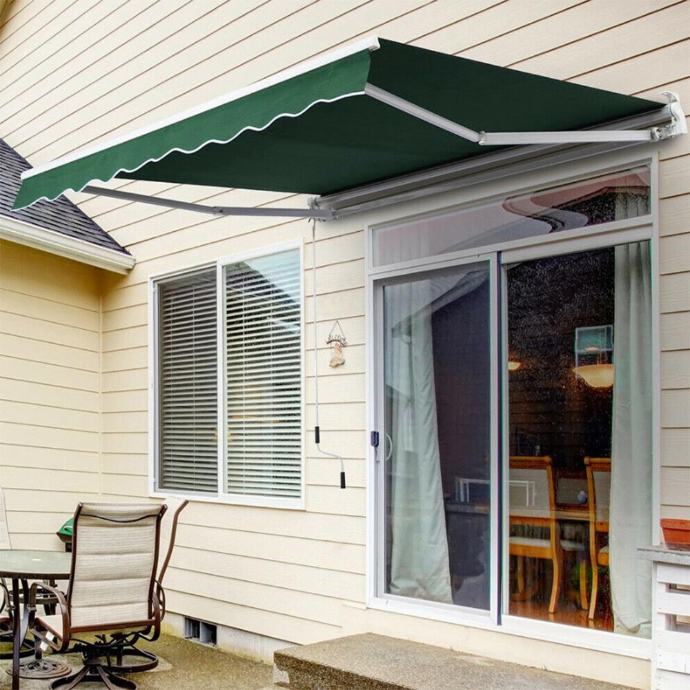 Patio Retractable Manual Awning Garden Sun Shade Canopy ...