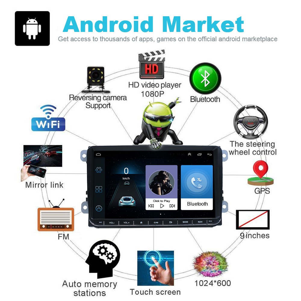 9-034-Autoradio-Android-8-1-Stereo-GPS-Navi-BT-Mirror-For-VW-GOLF-5-6-Passat-Varian miniatura 3