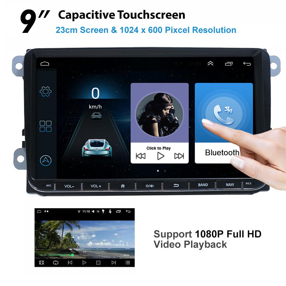 9-034-Autoradio-Android-8-1-Stereo-GPS-Navi-BT-Mirror-For-VW-GOLF-5-6-Passat-Varian miniatura 2