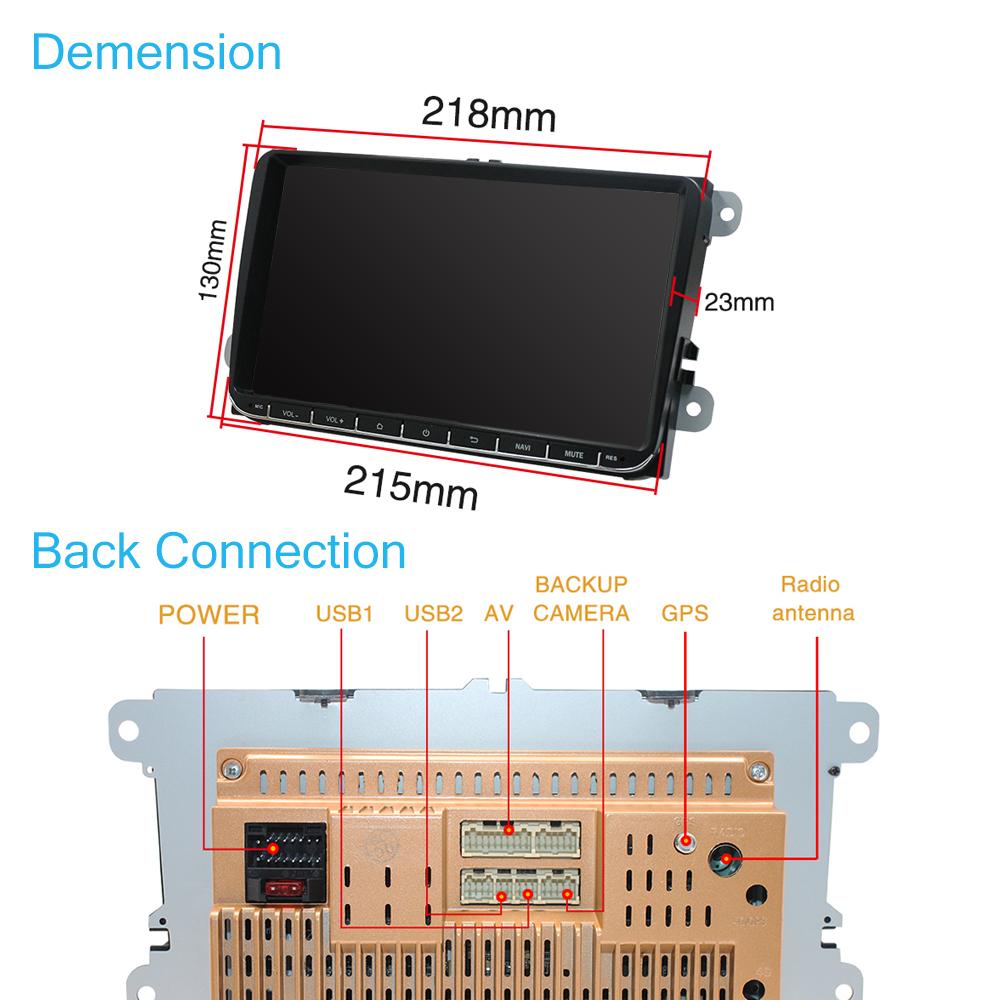 9-034-Autoradio-Android-8-1-Stereo-GPS-Navi-BT-Mirror-For-VW-GOLF-5-6-Passat-Varian miniatura 11