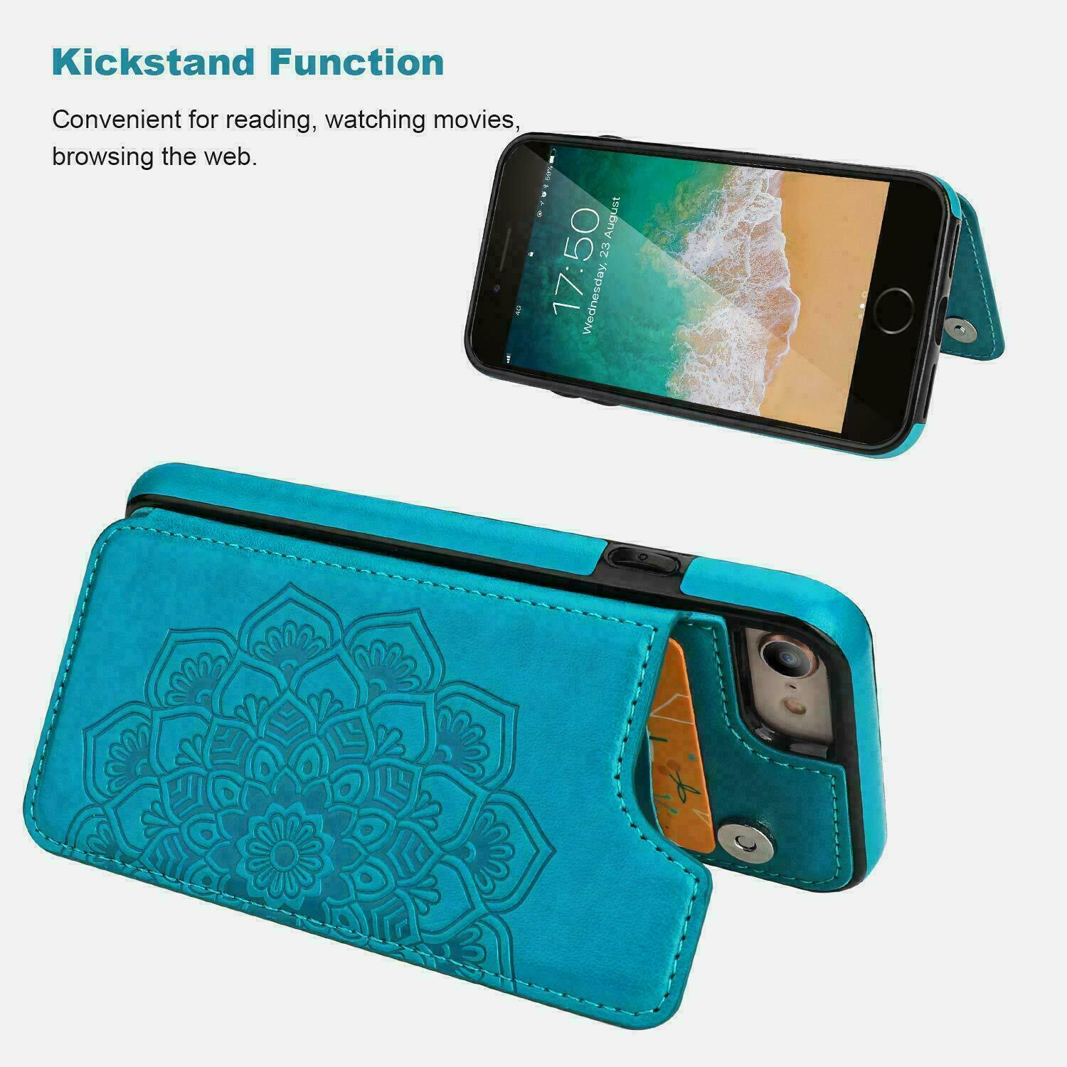 thumbnail 19 - Leather Flip Wallet Card Holder Case Cover For Samsung Galaxy S20 S10 S9 A21s 51