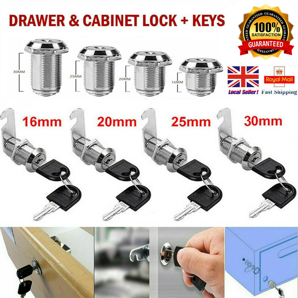 16mm-20mm Cabinet Cupboard Lock Door Locker Mailbox Drawer Replacement UK