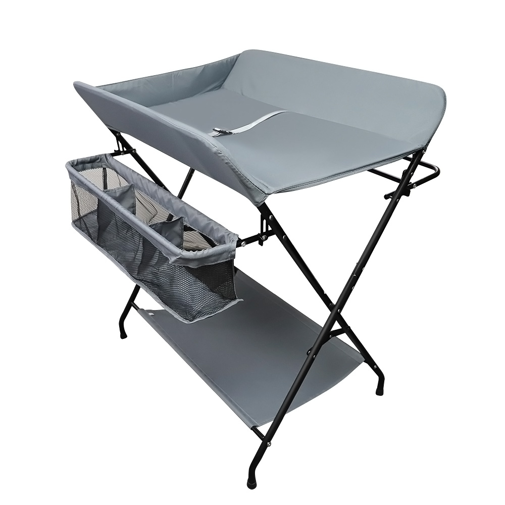 Foldable Baby Changing Unit Steel Pipe Infant Changer Oxford Cloth Table Station
